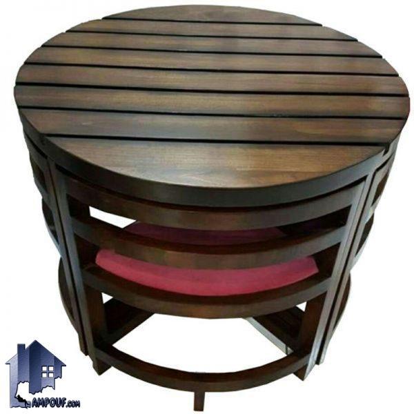 ست میز نهارخوری کمجا DTB2 که دارای ساختار کاملا چوبی و با صفحه گرد و چهار صندلی ناهار خوری کم جا بوده و برای رستوران و آشپزخانه و کافی شاپ مناسب میباشد.