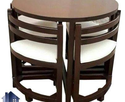ست میز نهارخوری کمجا DTB4 چهار نفره که دارای صندلی های ناهار خوری کم جا و میز گرد بوده و میتواند برای آشپزخانه منازل و داخل کافی شاپ ها و رستوران مناسب باشد.
