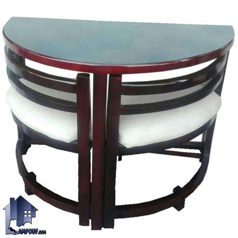 ست میز نهارخوری کمجا DTB5 که به صورت دو نفره با میز نیم دایره و دو عدد صندلی ناهار خوری به صورت کم جا طراحی شده که میتواند مناسب برای آشپزخانه و کافی شاپ باشد.
