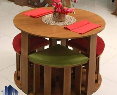 ست میز نهارخوری کمجا DTB7 دارای صفحه گرد و چهار صندلی ناهار خوری به صورت کم جا که برای آشپزخانه منازل و رستوران و کافی شاپ و فست فود میتواند مناسب باشد.