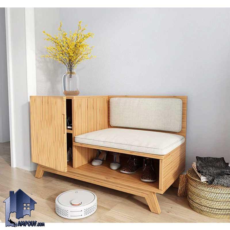 جاکفشی نیمکتدار SHJ316 که به صورت درب دار و نیمکت دار و با پایه چوبی و برای قسمت های ورودی منزل و همچنین در داخل اتاق خواب با طراحی زیبا ساخته شده است.
