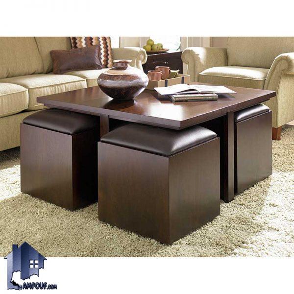 میز جلومبلی HOJ114 که دارای طراحی به صورت کمجا بوده و دارای عسلی که در پذیرایی منزل و فضا های اداری به عنوان یک میز جلوی مبل مورد استفاده قرار میگیرد.