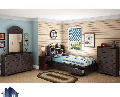 سرویس خواب یک نفره SBJ3000 شامل اقلام تخت خواب، پاتختی، دارور، میز آرایش که به عنوان تختخواب یکنفره کشو دار در اتاق خواب قرار میگیرد. تخت خواب یک نفره SBJ105