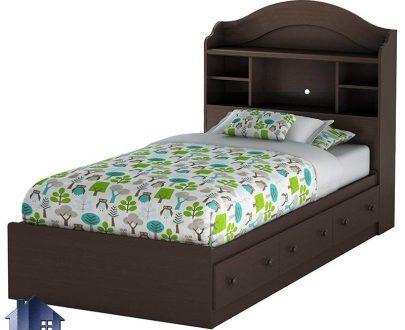 تخت خواب یک نفره SBJ105 که به صورت کشو دار و تاج با طراحی قفسه دار بوده و میتواند به عنوان یک تختخواب یکنفره در اتاق خواب مورد استفاده قرار بگیرد.
