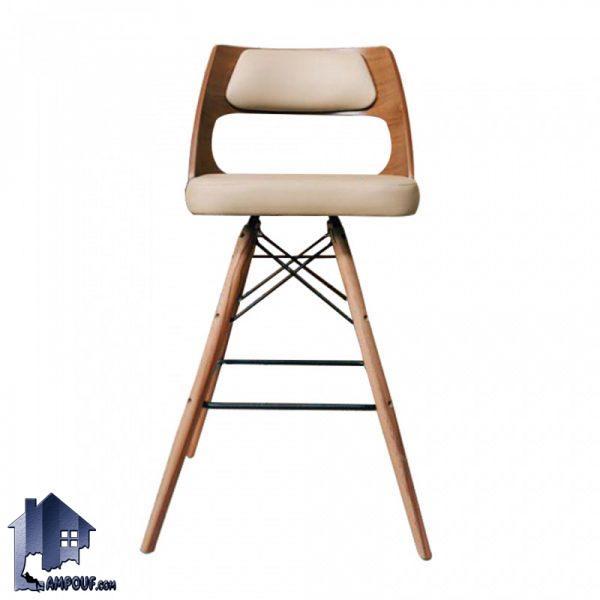 صندلی اپن و بار BSO2004B دارای پایه چوبی بلند و ثابت که برای انواع میز بار کانتر و پیشخوان در آشپزخانه و کافی شاپ مورد استفاده قرار میگیرد.