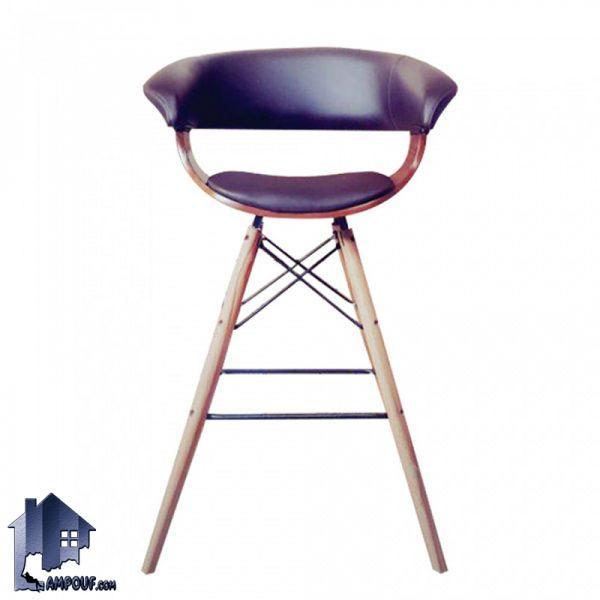 صندلی اپن و بار BSO2150B دارای پایه چوبی بلند و ثابت که برای میز های کانتر و پیشخوان در رستوران و کافی شاپ و آشپزخانه و پذیرایی مورد استفاده قرار میگیرد.