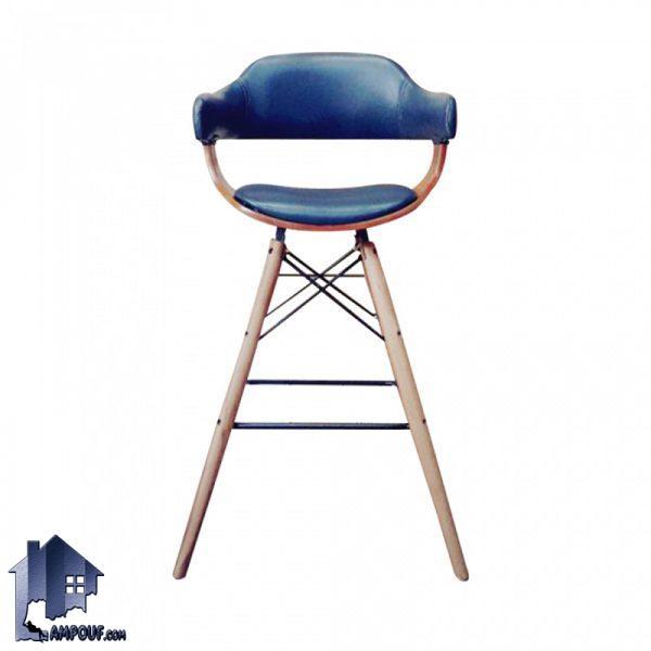 صندلی اپن و بار BSO2178B با پایه چوبی ثابت که در کنار میز های بلند در آشپزخانه و پذیرایی و کافی شاپ و رستوران و فست فود مورد استفاده قرار میگیرد.
