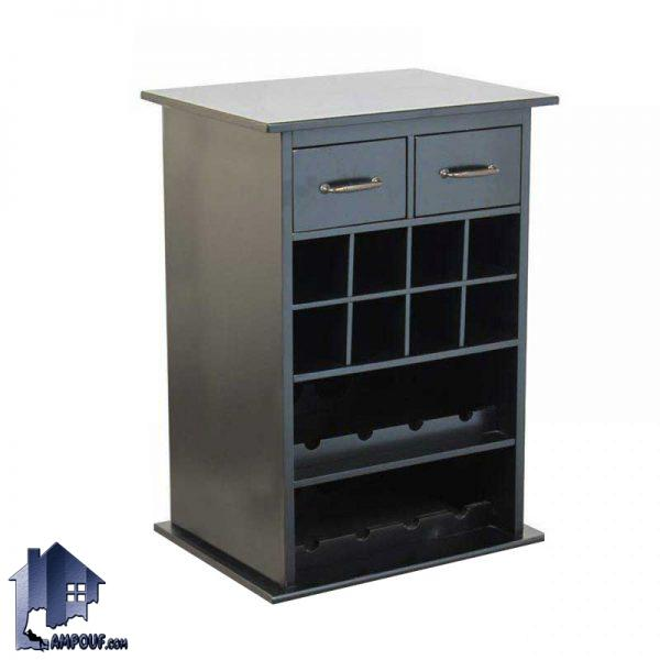 میز اپن و بار BTJ112 به صورت کشو دار و با قفسه برای قرار گیری بطری که به عنوان یک ویترین و دکور بار در آشپزخانه و پذیرایی مورد استفاده قرار میگیرد.