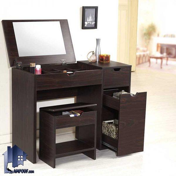 میز آرایش DJ335 با طراحی به صورت صندلی دار و کشو دار و آینه دار و قفسه دار که به عنوان یک میز توالت و کنسول در کنار سرویس خواب استفاده میشود.