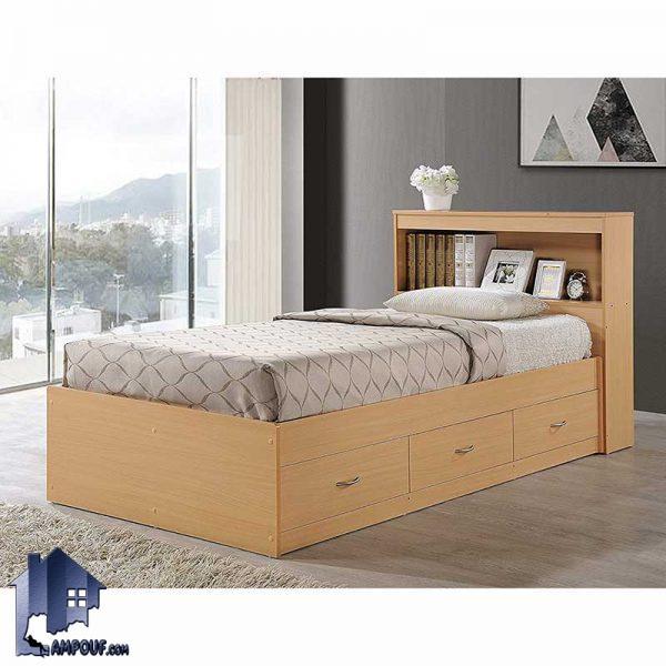 تخت خواب یک نفره SBJ100 به صورت کشو دار و با تاج ویترینی که به عنوان یک تختخواب یکنفره و سرویش خواب در اتاق خواب مورد استفاده قرار میگیرد.