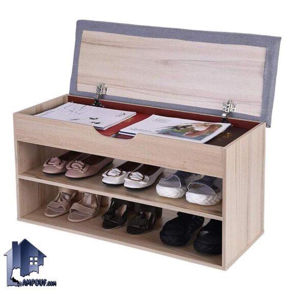جاکفشی نیمکتدار SHj324 که به عنوان یک نیمکت قفسه دار و باکس دار برای جای کفش در قسمت های ورودی منزل و پذیرایی و داخل اتاق خواب مورد استفاده قرار میگیرد.