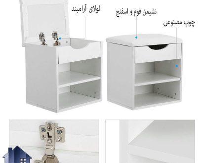 جاکفشی نیمکتدار SHj325 که به عنوان یک نیمکت و صندلی یک نفره باکس دار و قفسه دار به عنوان جا کفشی و یا صندلی میز آرایش در ورودی منزل و اتاق خواب قرار میگیرد.
