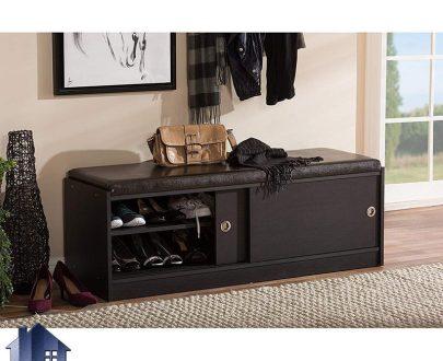 جاکفشی نیمکتدار SHj326 درای درب کشویی و ریلی و همچنین به صورت قفسه دار که به عنوان یک نیمکت با جای کفش در ورودی منزل و در داخل اتاق خواب استفاده میشود.