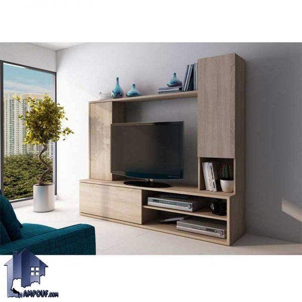 میز LCD مدل TTJ52 با طراحی ایستاده و دارای درب و به صورت جکدار و داشبردی که به عنوان استند تلویزیون و زیر تلویزیونی در تی ور روم و پذیرایی قرار میگیرد.
