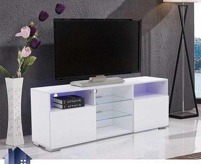میز LCD مدل TTJ55 دارای درب داشبردی و جکدار و قفسه شیشه ای با نور پردازی که به عنوان استند و براکت و میز LED و زیر تلویزیونی در تی وی روم استفاده میشود.