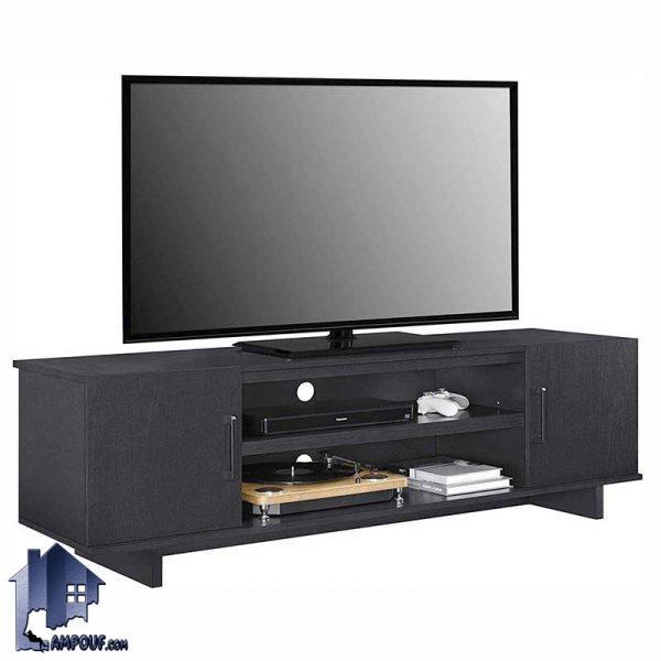 میز LCD مدل TTJ56 به صورت درب دار و قفسه دار با طراحی زیبا که به عنوان زیر تلویزیونی و استند و براکت تلویزیون در پذیرایی و تی وی روم منزل قرار میگیرد.