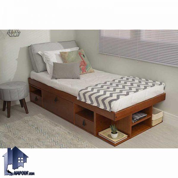 تخت خواب یک نفره SBJ101 دارای طراحی به صورت کشو دار و درب های جکدار که به عنوان یک تختخواب یکنفره و یک سرویس خواب کامل در اتاق خواب استفاده میشود.