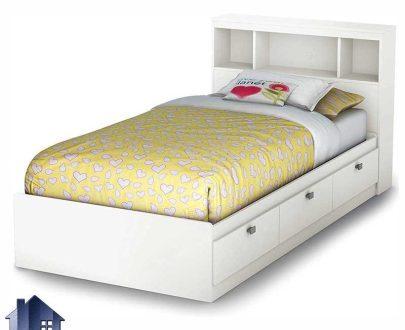 تخت خواب یک نفره SBJ102 کشو دار با طراحی تاج به صورت ویترینی و کتابخانه دار که به عنوان تختخواب یکنفره در داخل اتاق خواب بزرگسال و نوجوان استفاده میشود.