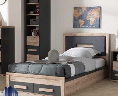 تخت خواب یک نفره SBJ104 با طراحی به صورت کشو دار و تاج لمسه کاری شده که به عنوان یک تختخواب یکنفره در داخل اتاق خواب بزرگسالان و نوجوان استفاده میشود.