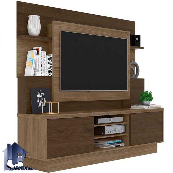 میز تلویزیون LCD مدل TTJ67 دارای درب و قفسه و ویترین که به صورت استند و براکت ایستاده طراحی شده و در تی وی روم و پذیرایی به عنوان دکور مورد استفاده قرار میگیرد.