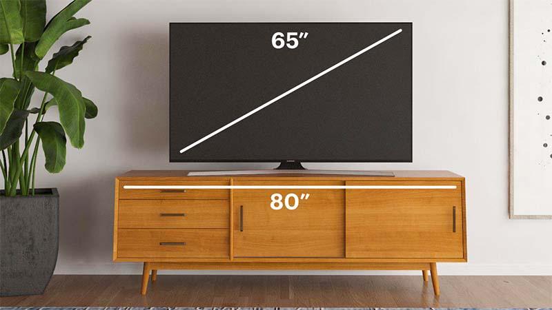 نسبت سایز تلویزیون به میز