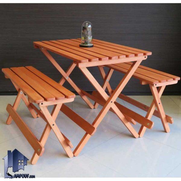 ست 4نفره میز نیمکت تاشو BTAR103 که به عنوان میز و صندلی نهارخوری چوبی در غذاخوری و کافی شاپ و رستوران و آشپزخانه منازل به عنوان ست چهار نفره استفاده میشود.