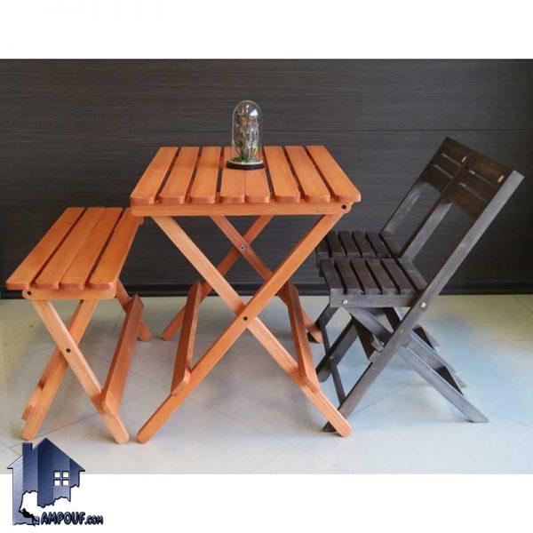 ست 4نفره میز صندلی تاشو BTAR105 که به عنوان نهارخوری و غذا خوری در منازل و آشپزخانه و رستوران و کافی شاپ و فضای باز به صورت کمجا مورد استفاده قرار میگیرد.
