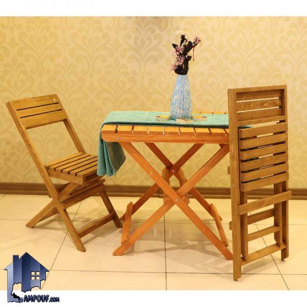 ست 2نفره میز صندلی تاشو BTAR106 که به عنوان یک میز و صندلی غذاخوری و نهارخوری در کافی شاپ و رستوران و حتی در داخل منازل در آشپزخانه و پذیرایی استفاده میشود