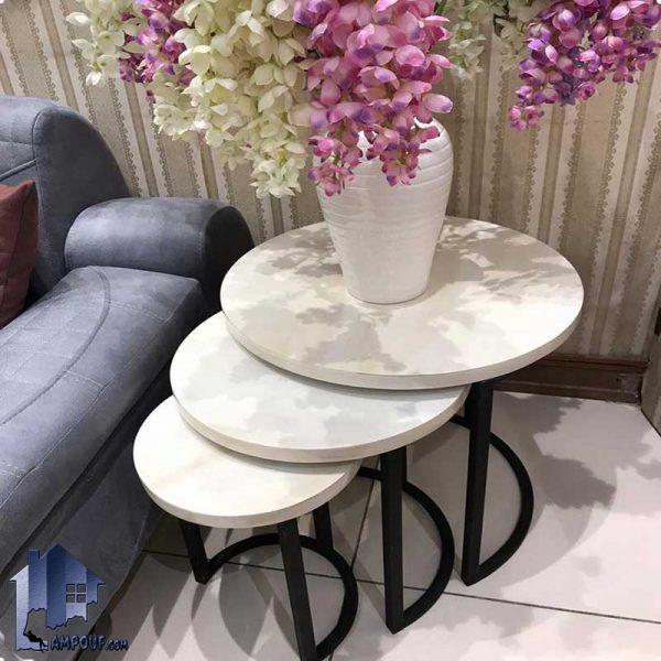 میز عسلی 3تایی فینگر جوینت HOAR102 که دارای پایه فلزی و سطح میز چوبی که به عنوان پذیرایی و جلومبلی در کنار دکور خانگی و مبلمان مورد استفاده قرار میگیرد.