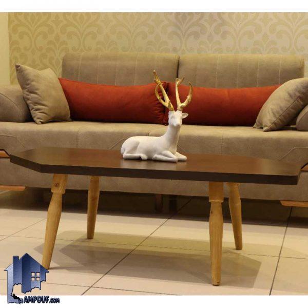 میز جلومبلی ساوان HOAR101 که دارای طراحی متفاوت و دارای جنس چوبی روکش چوب و پایه نراد روس که به عنوان پذیرایی در کنار مبلمان و دکور خانگی استفاده میشود.