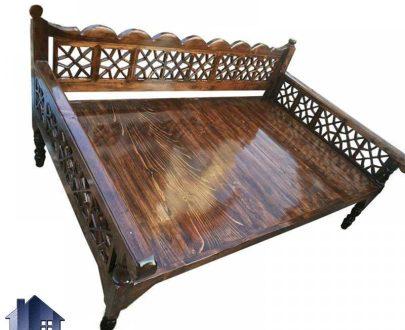 تخت سنتی چهارنفره 190*90 مدل TRK101 که برای سفره خانه قهوه خانه و رستوران سنتی و باغ به عنوان تخت چوبی قهوه خانه ای در دکور سنتی مورد استفاده قرار میگیرد.