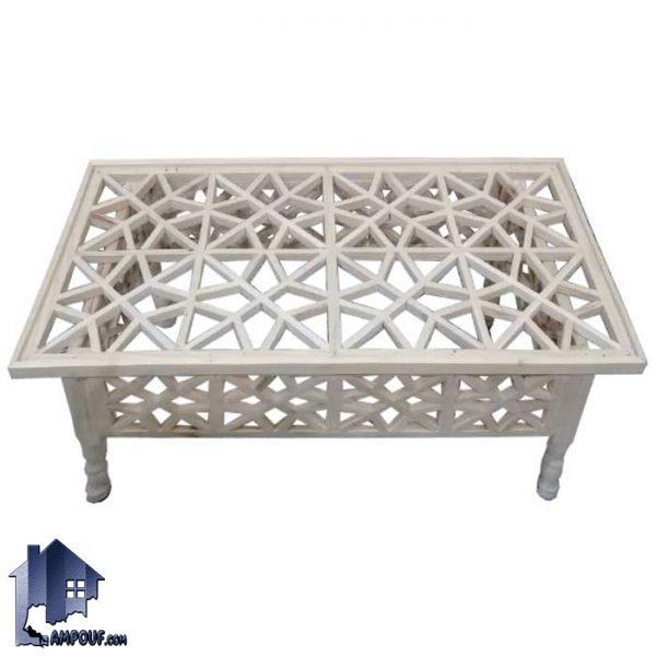 میز جلومبلی سنتی TRK109 که در کنار تخت های سنتی چوبی و مبلمان سنتی به عنوان جلو مبلی عسلی میز پذیرایی در قهوه خانه و سفره خانه و رستوران استفاده شود