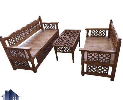 ست تخت سنتی 6 نفره TRK107 طراحی شده به عنوان یک تخت باغی و قهوه خانه ای جنس چوبی در منازل و رستوران ها و سفره خانه ها و قهوه خانه های سنتی استفاده میشود.