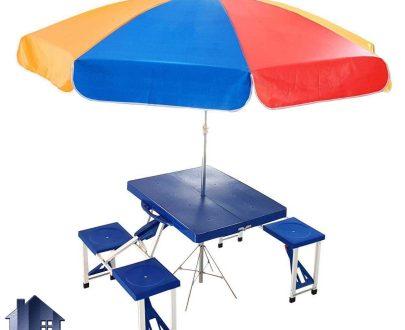 میز و صندلی تاشو DTH100 که به صورت کمجا و قابل حمل طراحی شده و به صورت مسافرتی و پیکنیک و برای فضای باز و یا داخل منزل و آشپزخانه مورد استفاده قرار میگیرد.