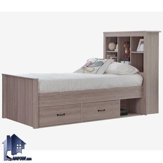 تخت خواب یک نفره SBJ106 که به عنوان باکس MDF و تختخواب قفسه دار و کشو دار میتواند در کنار دکور خانگی در کنار سرویس اتاق خواب مورد استفاده قرار میگیرد.