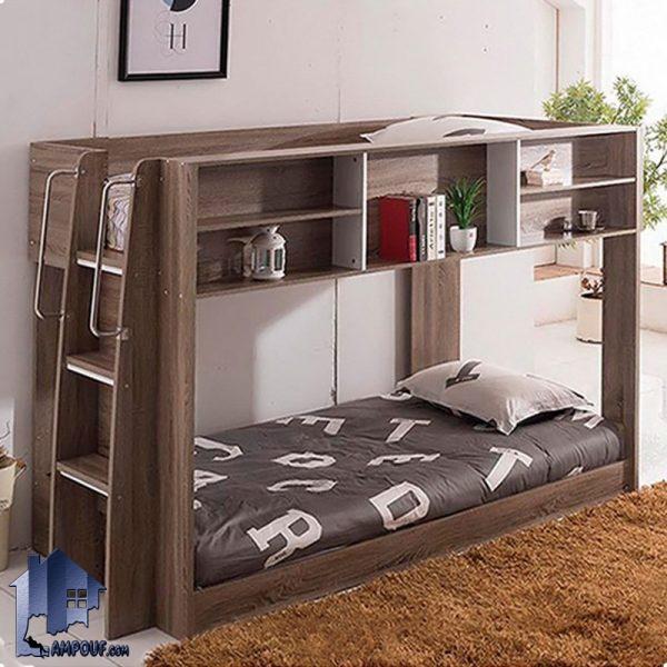 تخت خواب دو طبقه TBJ12 که به عنوان یک سرویس خواب کودک و نوجوان و یا تختخواب دوطبقه چوبی در داخل اتاق خواب و در کنار دکور خانگی به صورت کمجا استفاده میشود.