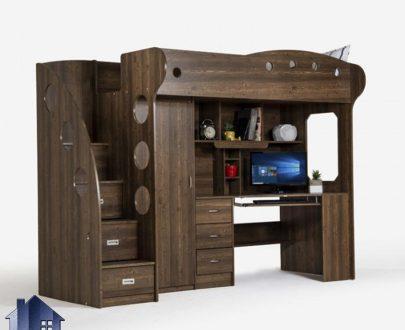 تخت خواب دو طبقه TBJ18 به صورت یک سرویس کامل دارای میز تحریر و کشو و دراور و کمد که عنوان تختخواب دوطبقه در اتاق خواب در کنار دکور خانگی استفاده میشود