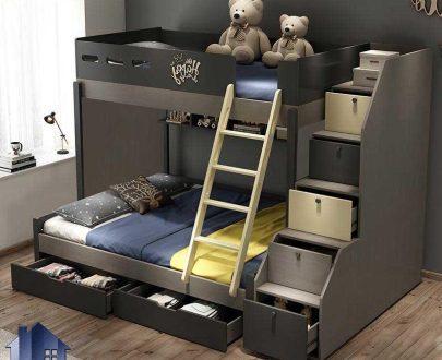 تخت خواب دو طبقه TBJ19 که به عنوان سرویس خواب کمجا و یا تختخواب دوطبقه کودک و نوجوان قفسه دار و کشو دار در اتاق خواب در کنار دکور اداری استفاده میشود.