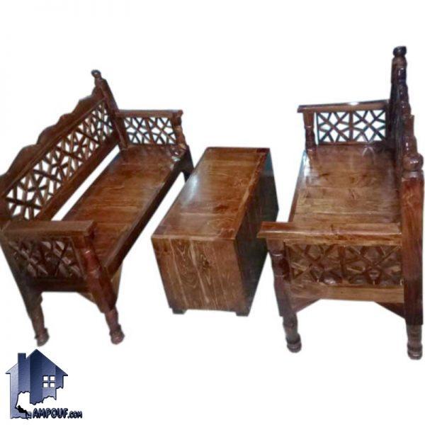 ست تخت چهارنفره سنتی مدل TRK111 که دارای جنس چوبی بوده و برای محیط های باغی و قهوه خانه و رستوران و سفره خانه سنتی و همچنین فضا های باز استفاده میشود