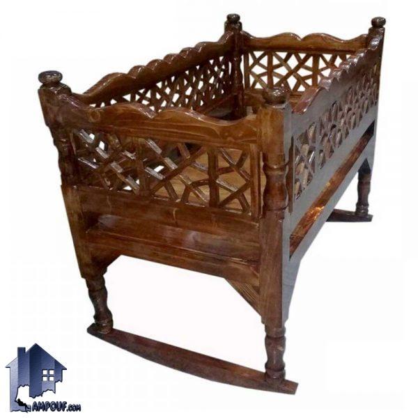 گهواره سنتی مدل TRK112 که به عنوان تخت خواب حرکتی برای کودک و نوجوان چوبی در منازل و اتاق خواب در کتار دیگر دکور سنتی میتواند مورد استفاده قرار بگیرد