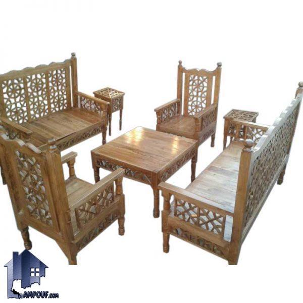 مبل 7 نفره سنتی TRK113 که به عنوان یک تخت و صندلی و مبلمان باغی به صورت چوبی برای قهوه خانه و رستوران و سفره خانه سنتی و منازل و فضای باز استفاده میشود