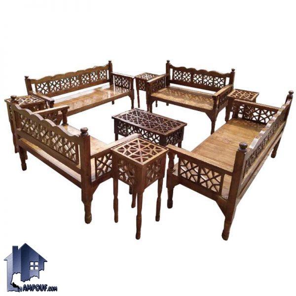 مبل 10 نفره سنتی TRK114 ساخته شده به صورت چوبی که به عنوان تخت و مبلمان باغی و قهوه خانه ای در منازل و رستوران و سفره خانه سنتی و فضای باز استفاده میشود.