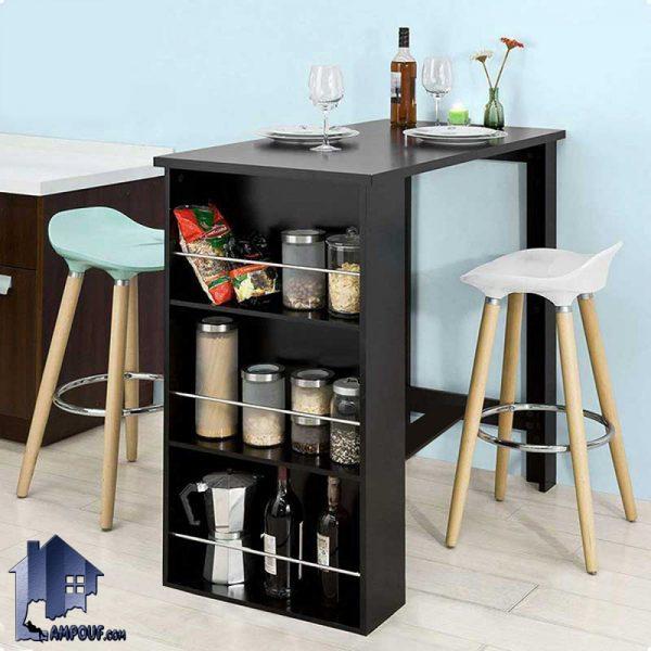 میز بار BTJ113 دارای ارتفاع بلند مناسب برای صندلی های اپن و بار و به صورت قفسه دار که میتواند در داخل آشپزخانه و پذیرایی و رستوران و کافی شاپ استفاده شود