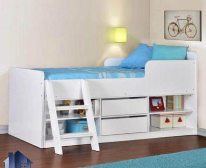 تخت خواب کودک و نوجوان CHJ107 به صورت کشو دار و قفسه دار و دراور دار و دارای پله که به عنوان تختخواب یک نفره در کنار سرویس خواب در داخل اتاق استفاده میشود. تخت خواب یک نفره SBJ119 که به عنوان تختخواب یکنفره کودک و نوجوان و بزرگسال دارای کشو و قفسه که در کنار دیگر لوازم سرویس خواب داخل اتاق خواب استفاده میشود
