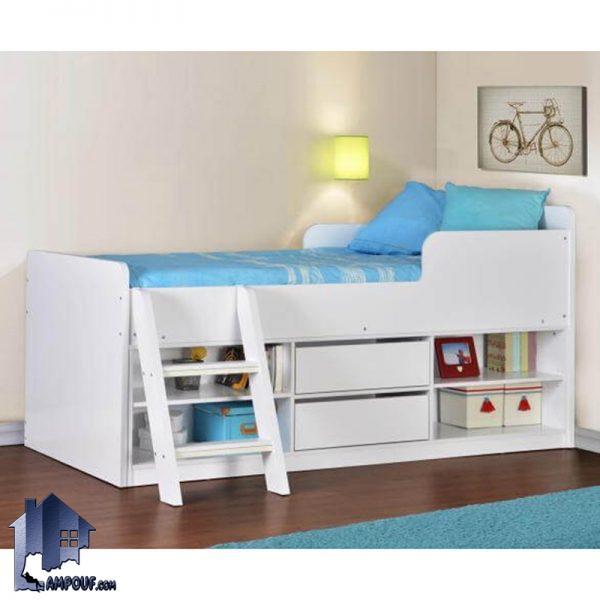 تخت خواب کودک و نوجوان CHJ107 به صورت کشو دار و قفسه دار و دراور دار و دارای پله که به عنوان تختخواب یک نفره در کنار سرویس خواب در داخل اتاق استفاده میشود.
