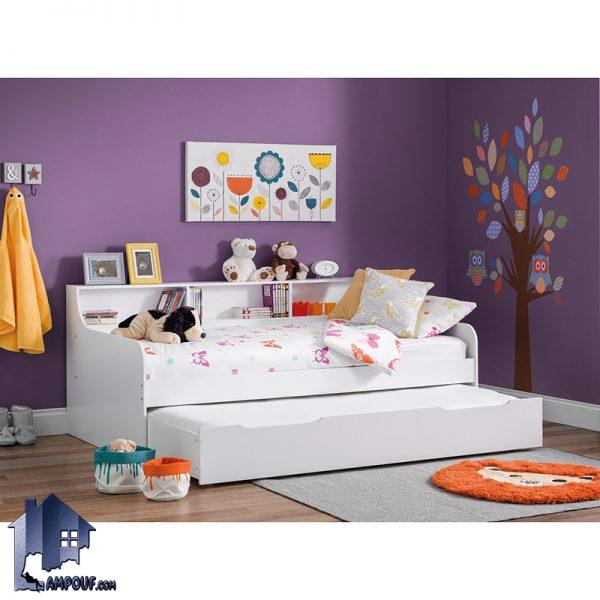 تخت خواب کودک و نوجوان CHJ108 دارای قفسه و کتابخانه فانتزی و تخت کشویی مخصوص میهمان که به عنوان یک سرویس خواب در داخل اتاق خواب مورد استفاده قرار میگیرد. تخت خواب یک نفره SBJ120 دارای تختخواب میزبان و میهمان به صورت کشویی و دو طبقه که داخل اتاق خواب بزرگسال و کودک و نوجوان در کنار سرویس خواب استفاده میشود