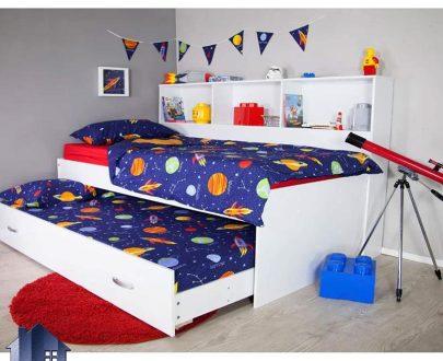 تخت خواب کودک و نوجوان CHJ109 به صورت قفسه دار و کتابخانه تزئینی و همچنین دارای تخت کشویی میهمان به صورت کمجا که در کنار سرویس خواب در اتاق استفاده میشود تخت خواب یک نفره SBJ116 که به عنوان تختخواب یکنفره ویترین دار و قفسه دار و دارای تخت میهمان در داخل اتاق خواب بزرگسال و کودک و نوجوان و در کنار سرویس خواب استفاده میشود.