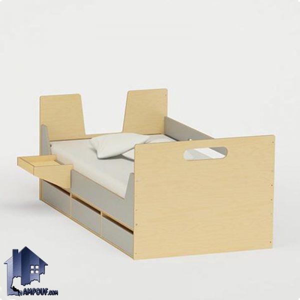 تخت خواب کودک و نوجوان CHJ113 به صورت کشو دار و دارای سه کشو میز مطالعه و تحریر که به عنوان تختخواب یک نفره در کنار سرویس اتاق خواب قابل استفاده میباشد