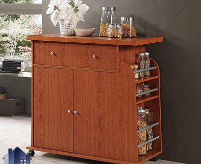 کابینت CSJ101 به صورت کشو درب و قفسه دار و دارای جای بطری و ادویه که به عنوان میز اپن و بار در آشپزخانه و در کنار دیگر لوازم دکوری زیبا را به وجود میآورد.