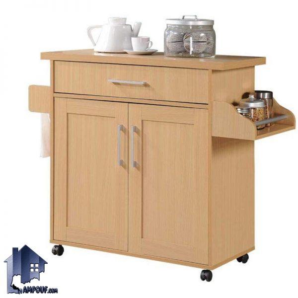 کابینت CSJ102 دارای دو درب و یک کشو به همراه قفسه و فضایی برای ادویه و میله آویز دستمال که به عنوان میز بار چرخ دار نیز در آشپزخانه و پذیرایی استفاده میشود.